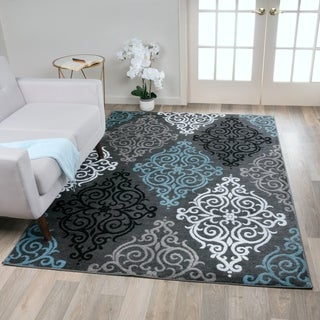 Modern Transitional Soft Damask Grey Area Rug (7'10 x 10'2)