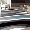 Abstract Contemporary Modern Blue Area Rug (7'10 x 10'2)