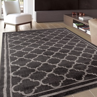 Trellis Contemporary Modern Design D.Grey Area Rug (7'10 x 10'2)