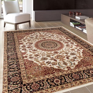 Traditional Oriental Medallion Design Cream Area Rug (7'10 x 10'2)