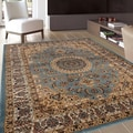 Traditional Oriental Medallion Design Blue Area Rug (7'10 x 10'2)