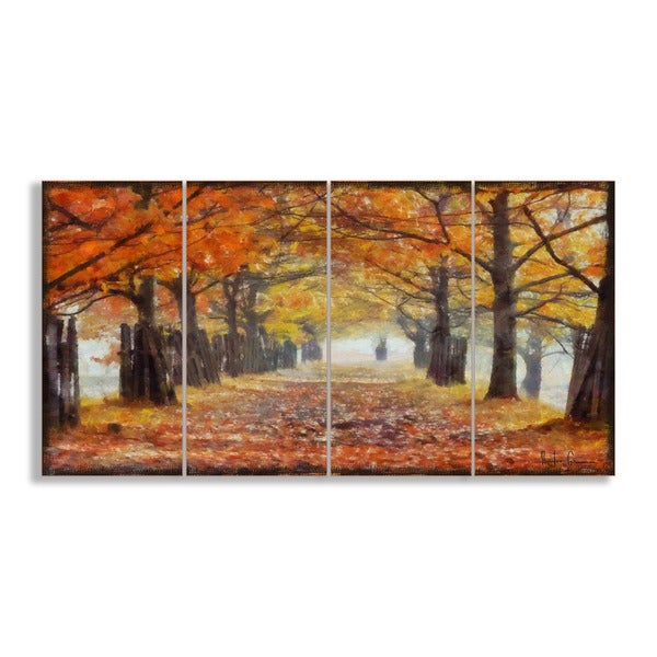 a walk through the autumn trees 39 4 piece canvas wall art. Black Bedroom Furniture Sets. Home Design Ideas