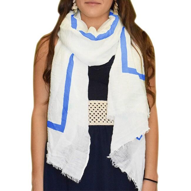 Overstock.com Peach Couture Lightweight Blue Stripe White Linen Scarf
