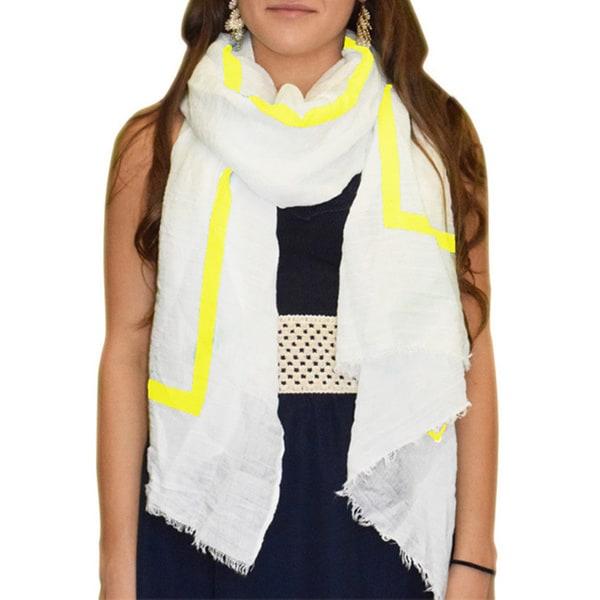 Peach Couture Lightweight Yellow Stripe White Linen Scarf