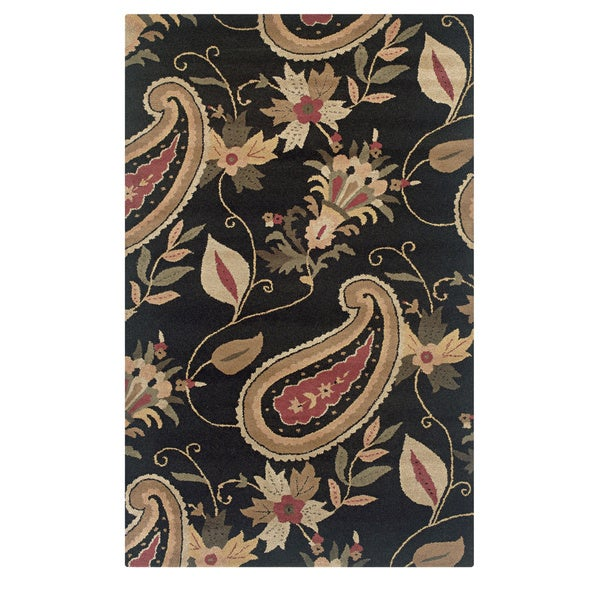 Rizzy Home Transitional Black Paisley Destiny Collection Hand-Tufted Accent Rug (9' x 12')