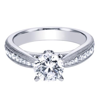 14k White Gold 3/8ct TDW Diamond and Cubic Zirconia Cathedral Milgrain Engagement Ring (H-I, I1-I2)