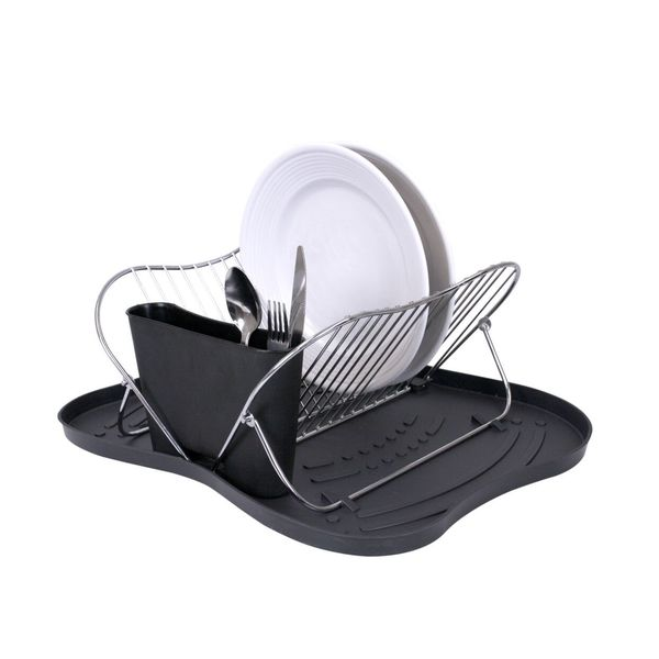 Home Basics Butterfly Dish Drainer Drying Rack with Tray