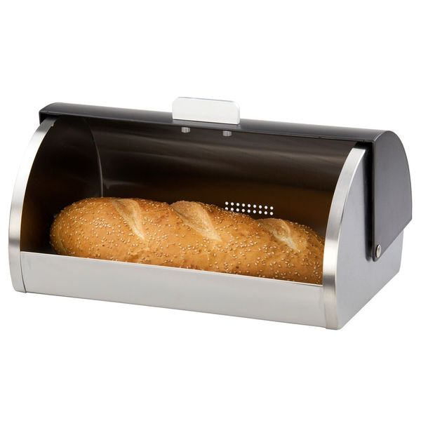 Home Basics Stainless Steel Bread Box with Black Lid