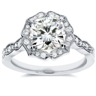 Annello 14k White Gold Cushion-cut Moissanite and 1/4 ct TDW Diamond Floral Antique Engagement Ring (G-H, I1-I2)