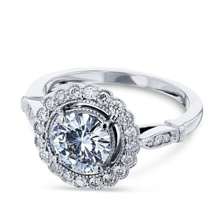 Annello 14k White Gold Round-cut Moissanite and 1/3 ct TDW Diamond Floral Antique Engagement Ring (G-H, I1-I2)