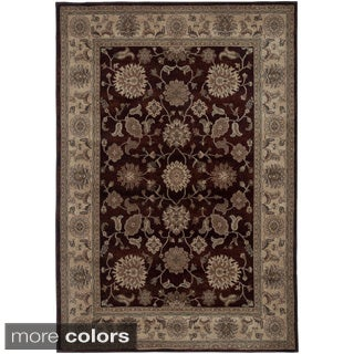 Rizzy Home Traditional Blue/ Red/ Beige Border Bellevue Collection Power-Loomed Accent Rug (6'7 x 9'6)