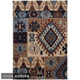 Rizzy Home Southwestern Blue/ Multi Abstract Bellevue Collection Power-Loomed Accent Rug (6'7 x 9'6)