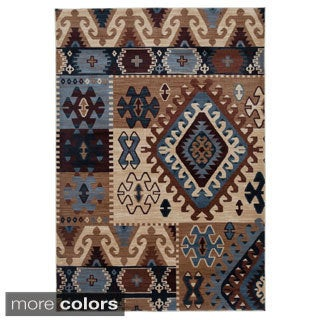Rizzy Home Southwestern Blue/ Multi Abstract Bellevue Collection Power-Loomed Accent Rug (3'3 x 5'3)