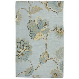 Rizzy Home Transitional Light Blue Floral Dimensions Collection Hand-Tufted Accent Rug (8' x 10')