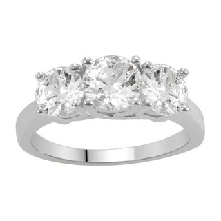 Divina 14k White Gold 2ct TDW Diamond 3-stone Anniversary Ring (H-I, I1-I2)