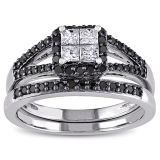 Miadora 10k White Gold 3/5ct TDW Princess and Round-cut Black and White Diamond Halo Split Shank Bridal Ring Set (G-H, I1-I2)