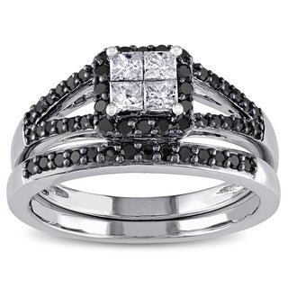 Miadora 10k White Gold 3/5ct TDW Princess-cut Black and White Diamond Halo Bridal Ring Set (G-H, I1-I2)
