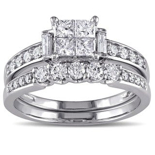 Miadora Signature Collection 10k White Gold 1ct TDW Princess-cut Diamond Bridal Ring Set (G-H, I1-I2)