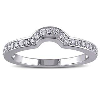 Miadora 14k White Gold 1/4ct TDW Diamond Contour Wedding Band (G-H, I1-I2)