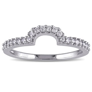 Miadora 14k White Gold 1/5ct TDW Diamond Contour Wedding Band (G-H, I1-I2)