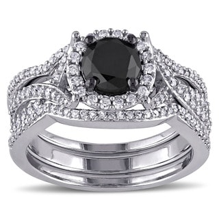 Miadora Signature Collection 10k White Gold 1 1/2ct TDW Black and White Diamond 3-piece Halo Bridal Ring Set (G-H, I2-I3)