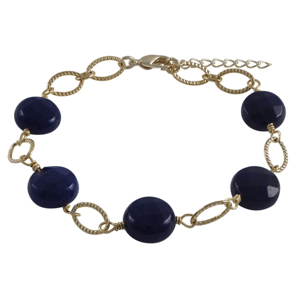 Gold Finish Jade Gemstone Open Ovals Bracelet