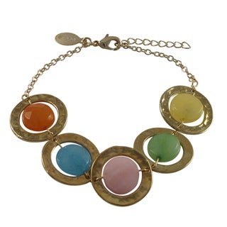 Gold Finish Multi-color Jade Gemstone Hammered Disc Bracelet