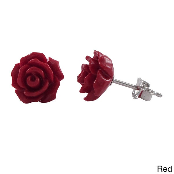 Sterling Silver Children's Rose Flower Stud Earrings