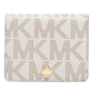 Michael Kors Jet Set Travel Signature Flap Card Holder-Vanilla