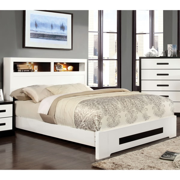 Furniture of america kize contemporary two tone platform for Furniture of america bed reviews