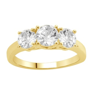 14k Yellow Gold 1ct TDW Diamond 3-stone Anniversary Ring (H-I, I1-I2)