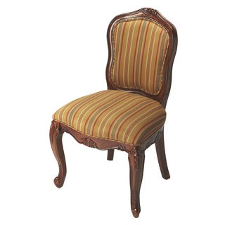 Brown Stripe Cherry Finish Birch Wood Accent Chair
