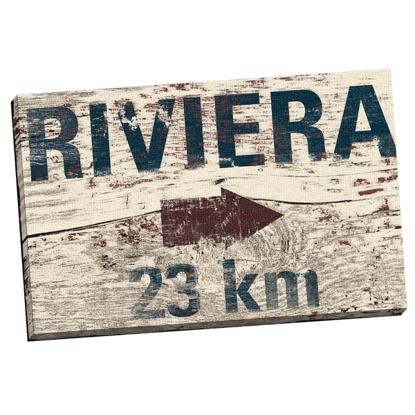 IHD Studio 'Vintage Signs - Riviera' Framed Canvas Wall Art