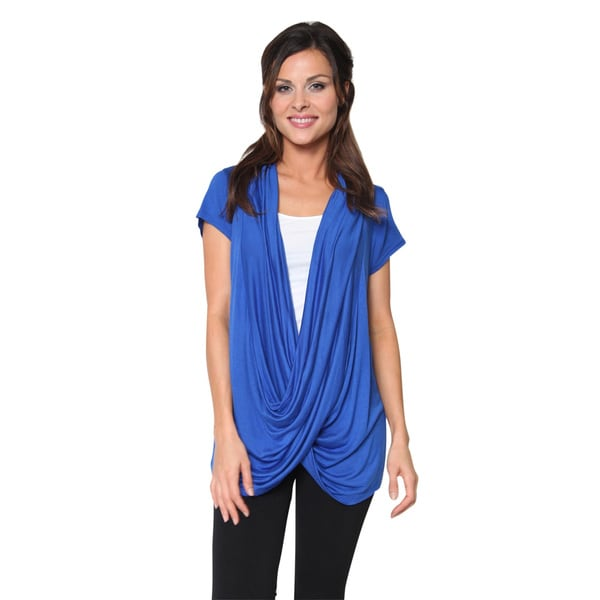 Free To Live Women's Short Sleeve Criss Cross Pullover Top