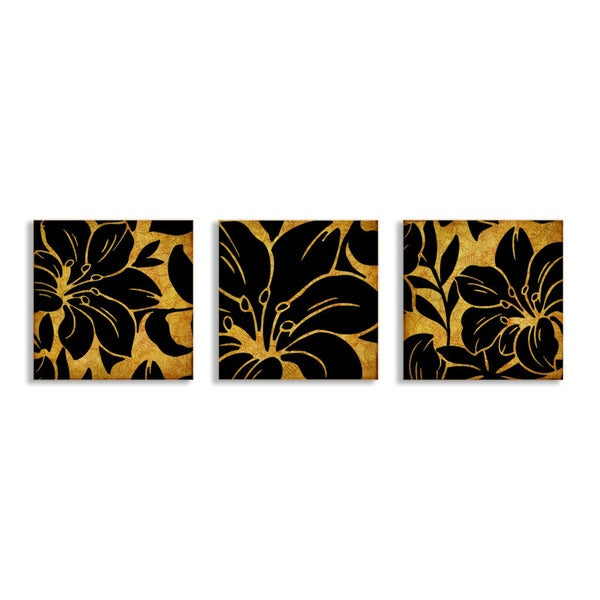 Beige and Black Floral 3-piece Canvas Wall Art Set