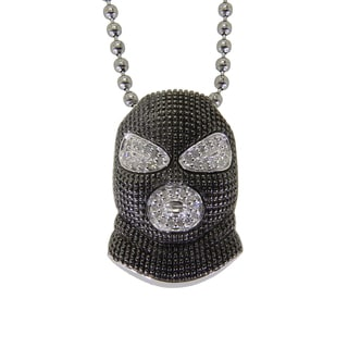 Sterling Silver 1/8ct TDW Diamond Skat Mask Necklace (G-H, I2-I3)