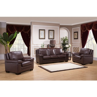 Clinton Premium Top Grain Brown Leather Sofa and Two Chairs