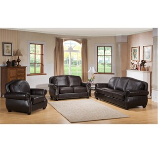 Highland Premium Top Grain Dark Brown Leather Sofa, Loveseat and Chair