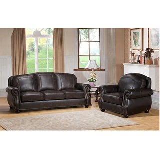 Highland Premium Top Grain Dark Brown Leather Sofa and Chair