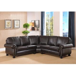 Hillsboro Premium Dark Brown Top Grain Leather Sectional Sofa