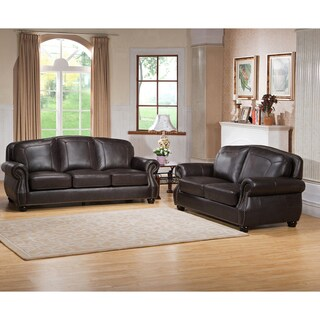 Highland Premium Top Grain Dark Brown Leather Sofa and Loveseat