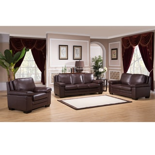 Clinton Premium Top Grain Brown Leather Sofa, Loveseat and Chair