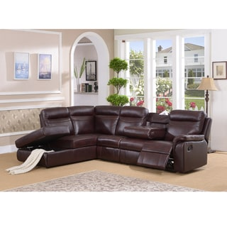 Monti Top Grain Burgundy Leather Lay Flat Reclining Sectional Sofa