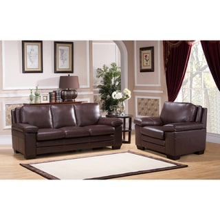 Clinton Premium Top Grain Brown Leather Sofa and Chair