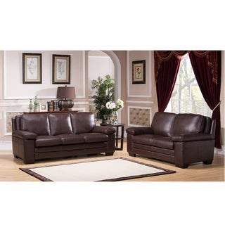 Clinton Premium Top Grain Brown Leather Sofa and Loveseat