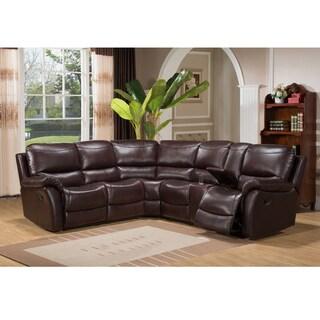 Hillrose Top Grain Dark Burgundy Leather Reclining Sectional Sofa