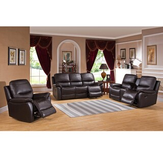 Pierce Brown Top Grain Leather Reclining Sofa, Loveseat and Chair