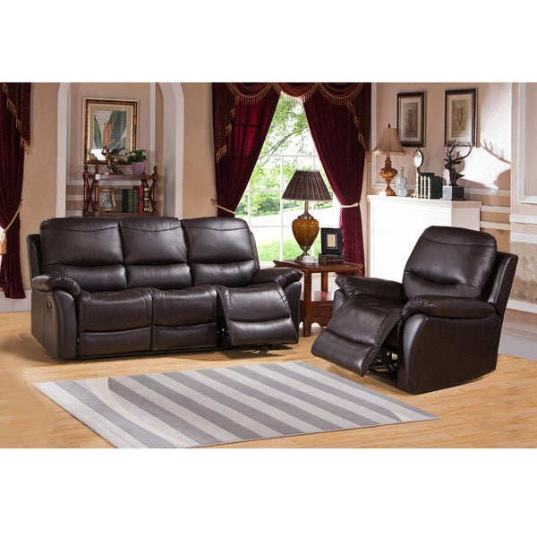 Pierce Brown Premium Top Grain Leather Reclining Sofa and Chair