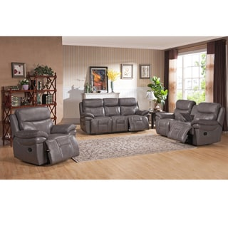 Argo Gray Premium Top Grain Leather Reclining Sofa, Loveseat and Chair