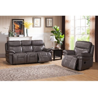 Argo Gray Premium Top Grain Leather Reclining Sofa and Chair